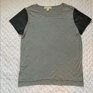 XL MICHAEL Kors Gray & Faux Leather Sleeve Top